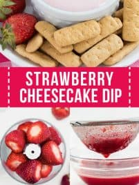 strawberry cheesecake dip sitting on a plate with graham crackers and whole strawberries