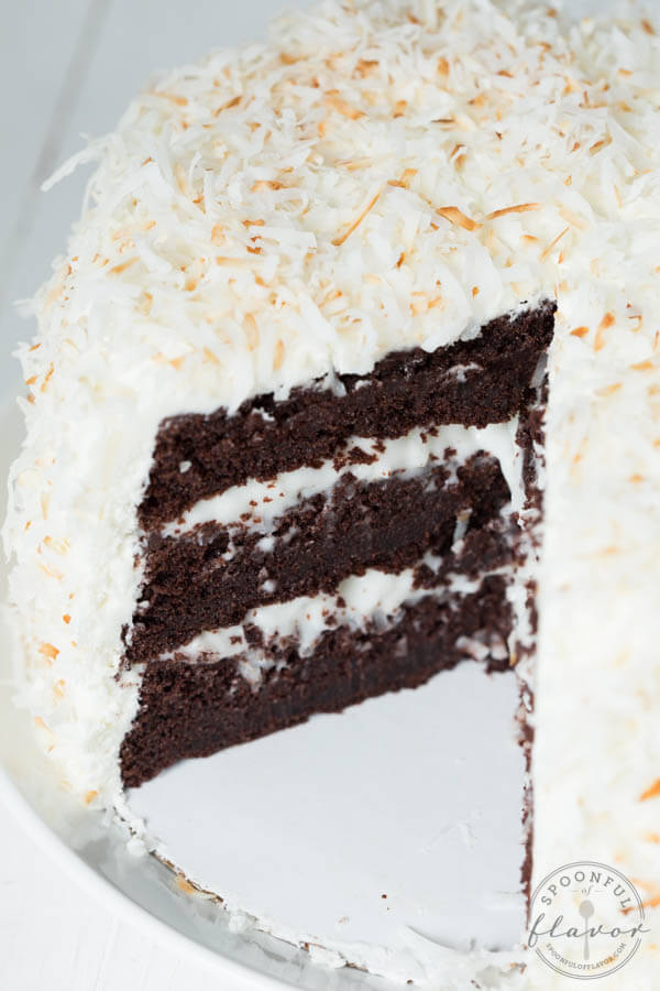 Chocolate Cake With Coconut Cream And Marshmallow