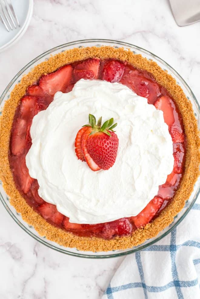 whole strawberry pie on a tabletop