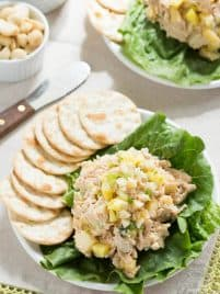 Hawaiian Chicken Salad with greek yogurt, pineapple and macadamia nuts!