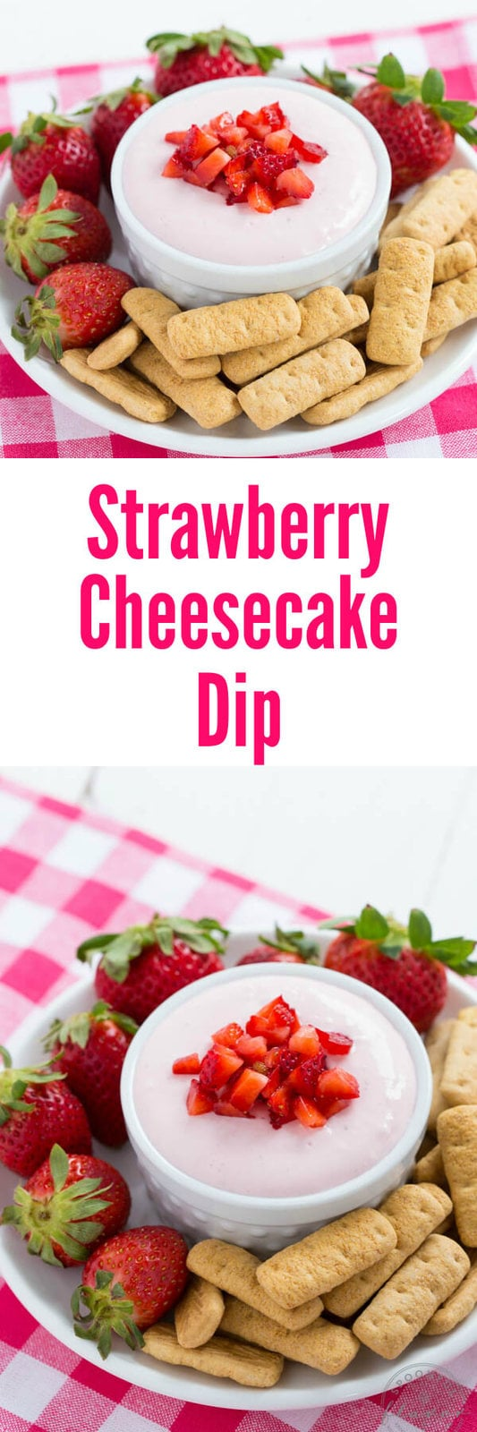 Strawberry Cheesecake Dip - made with fresh strawberries!