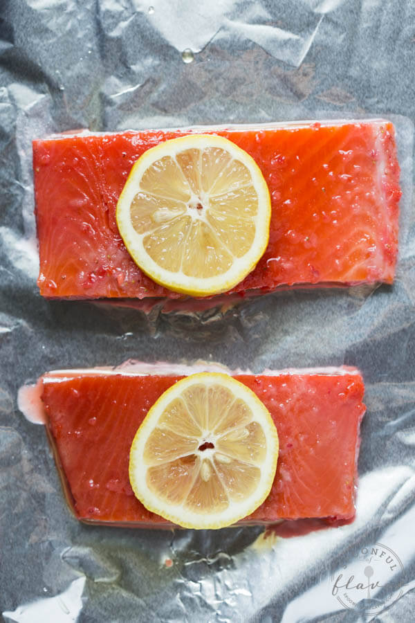 Baked Strawberry Lemon Salmon - a flavorful recipe using only 5 ingredients!
