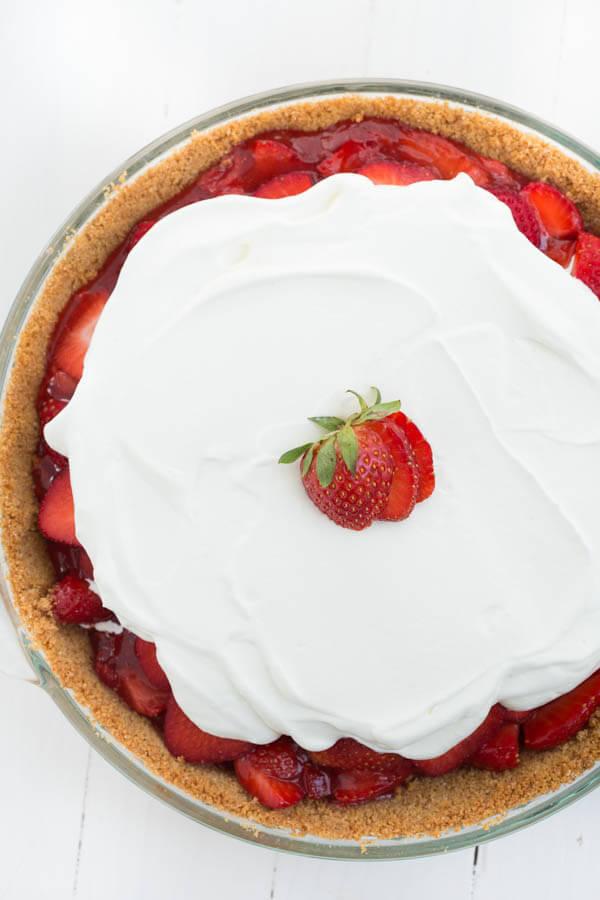 Strawberry Pie - graham cracker crust with fresh sliced strawberries and whipped cream!