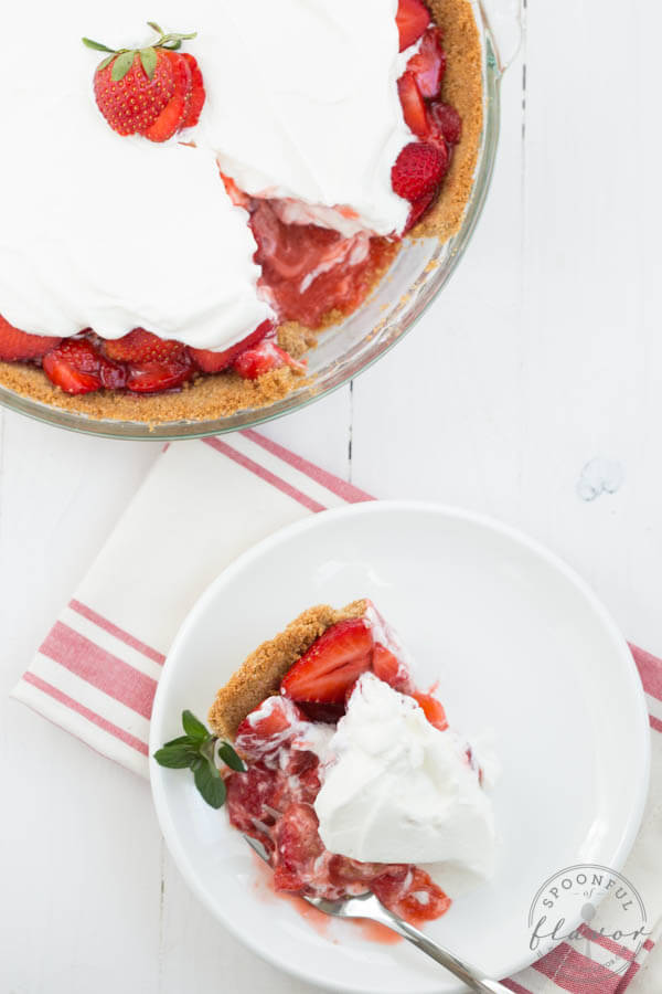 Strawberry Pie - graham cracker crust with fresh sliced strawberries and whipped cream!