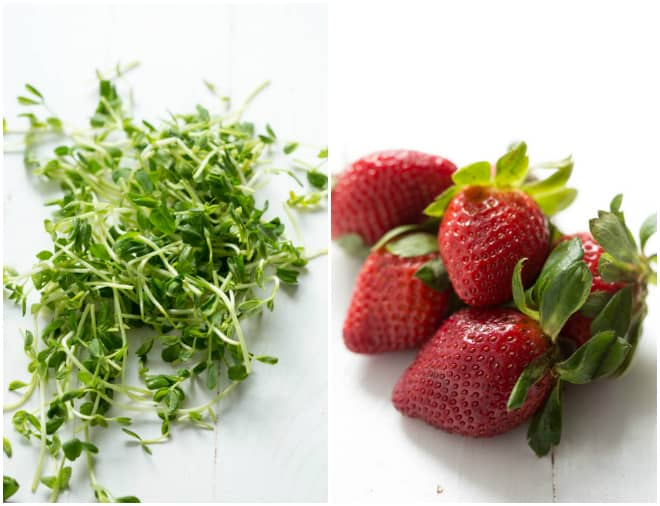 Strawberries and sprouts for a strawberry salad recipe.