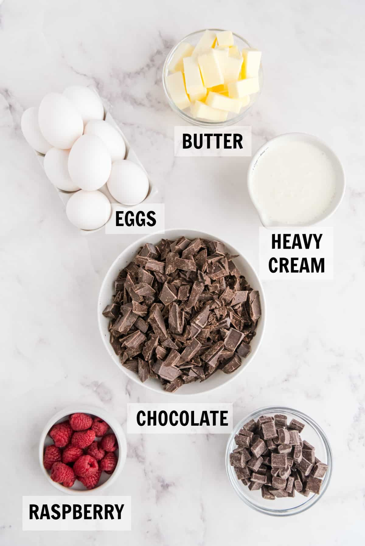 ingredients for flourless chocolate cake on counter