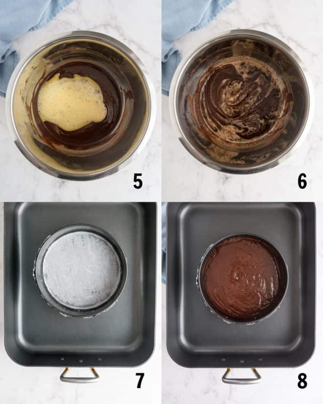 adding cake mixture to pan for baking