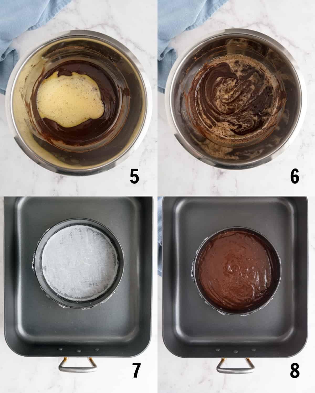 adding cake mixture to pan for baking
