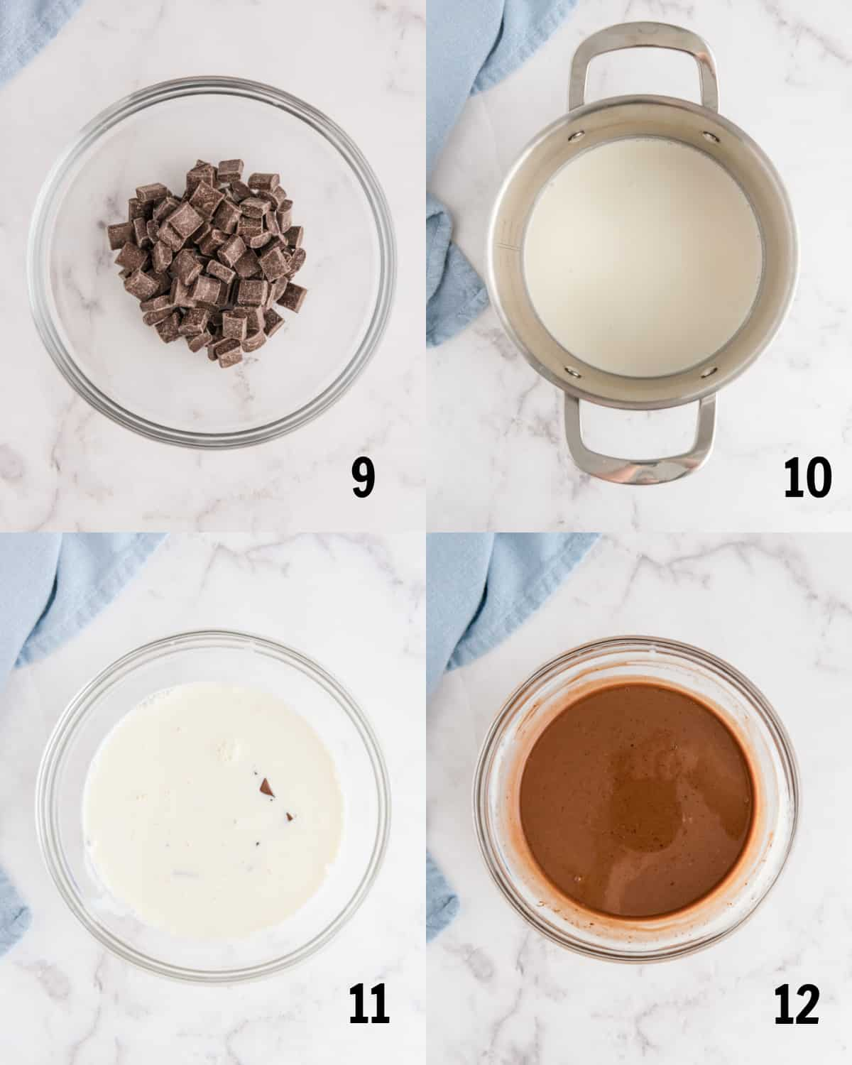 mixing together ingredients for chocolate ganache in bowl