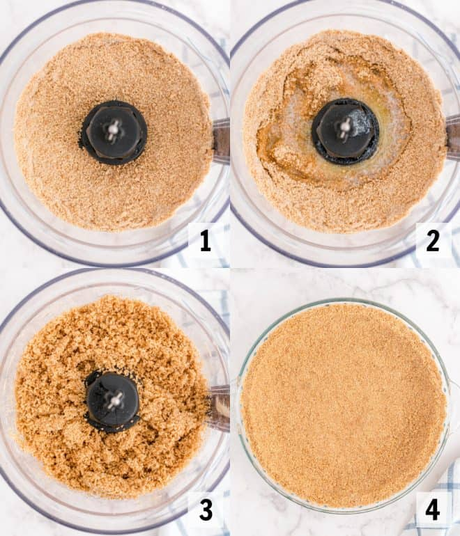 mixing together graham crackers in food processor