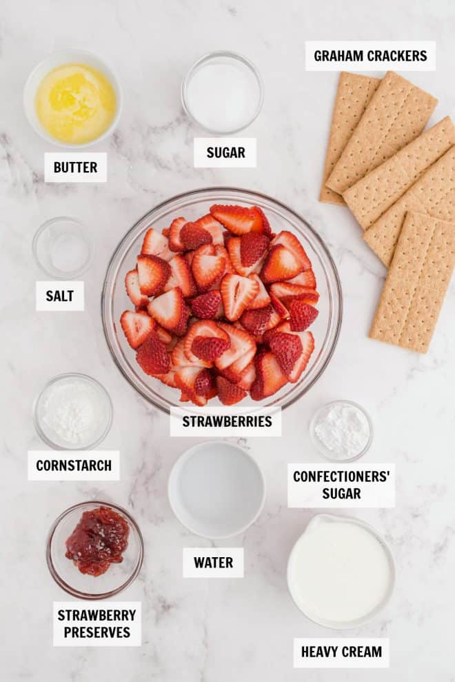 ingredients for strawberry pie on white tabletop