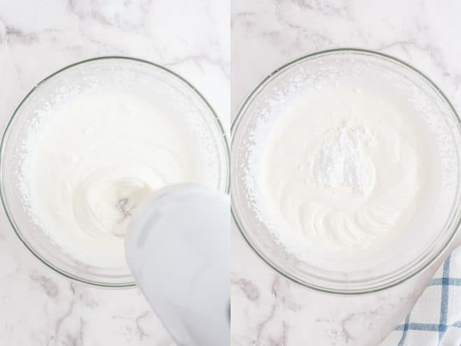 whipping cream in a bowl