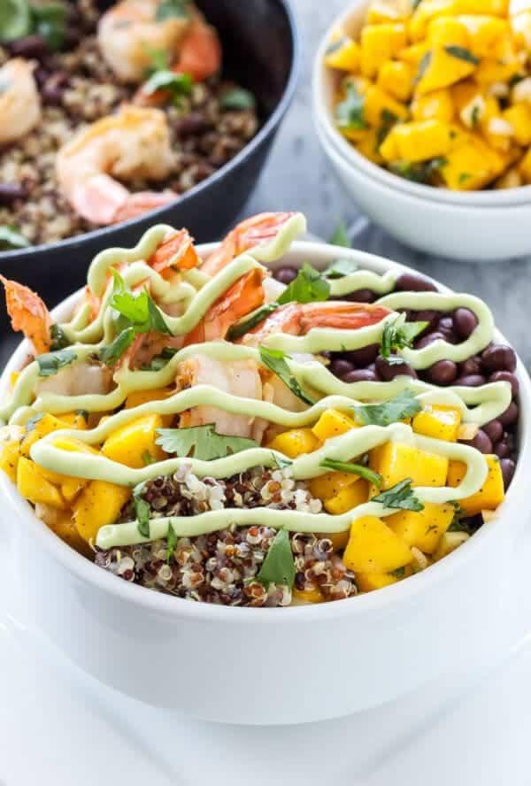 cilantro lime shrimp quinoa bowls