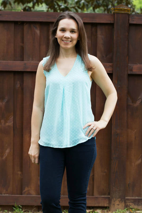 Stitch Fix Review April 2015 featuring Daniel Rainn Eliza Crochet Shoulder Blouse!