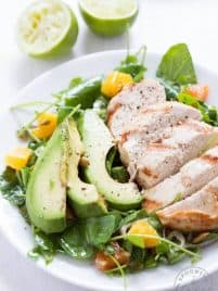 Grilled Tequila Chicken with Orange, Avocado and Pepita Salad – marinated Tequila chicken with a fresh green salad!