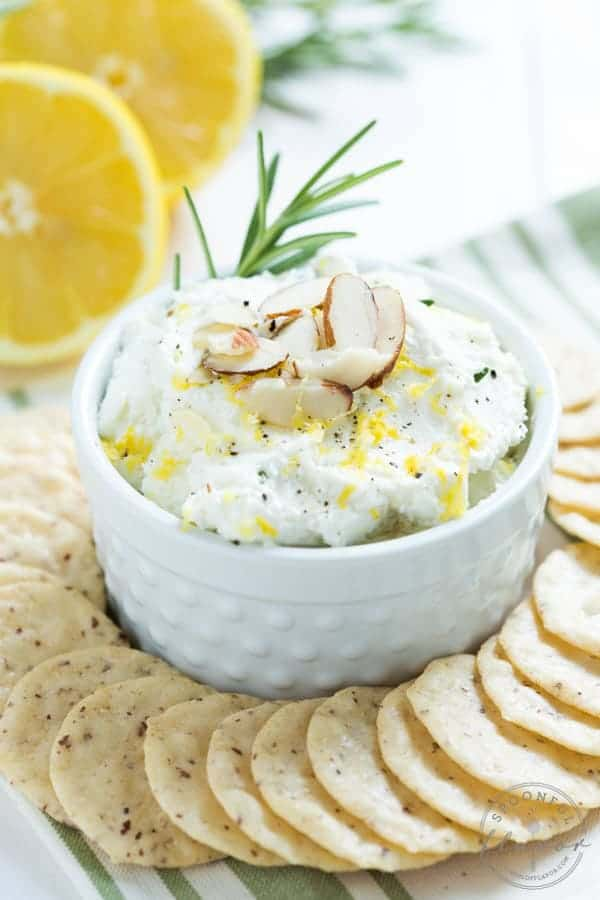 Lemon Rosemary Whipped Goat Cheese - an easy and flavorful appetizer or spread!