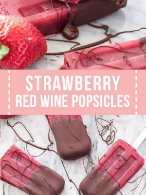 A strawberry red wine popsicle dipped in chocolate.