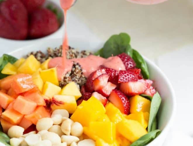 Strawberry Tropical Fruit Salad with Strawberry-Ginger Dressing is a colorful, flavorful and delicious salad! #EatTheRainbow