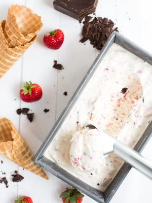 Chocolate Covered Strawberry Ice Cream – it tastes as good as it sounds! A few simple ingredients creates an ice cream flavor that you will want to make again and again!