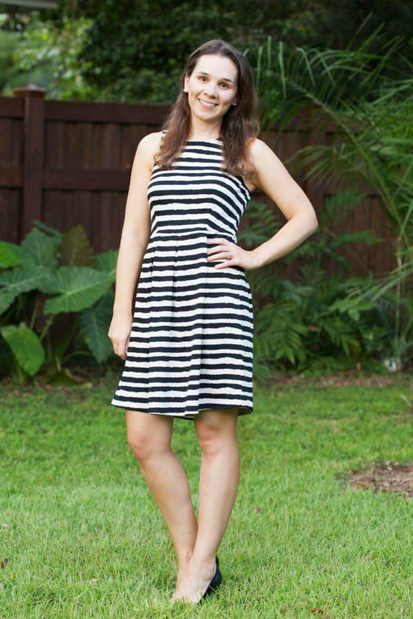 Stitch Fix Review August 2015 featuring THML Betsey Abstract Stripe Fit & Flare Dress