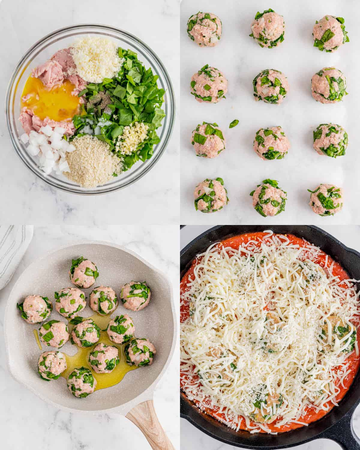 mixing together the ingredients for meatballs in a bowl and then cooking in a skillet