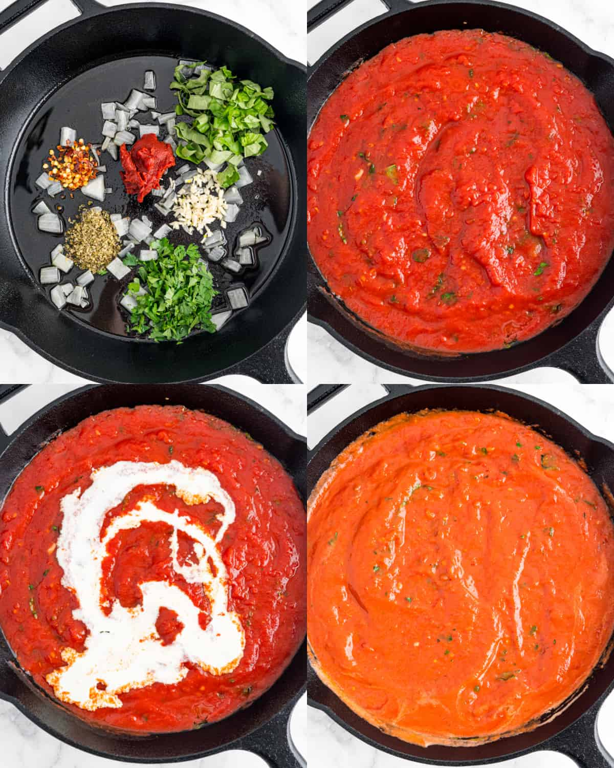 cooking tomato sauce in a skillet