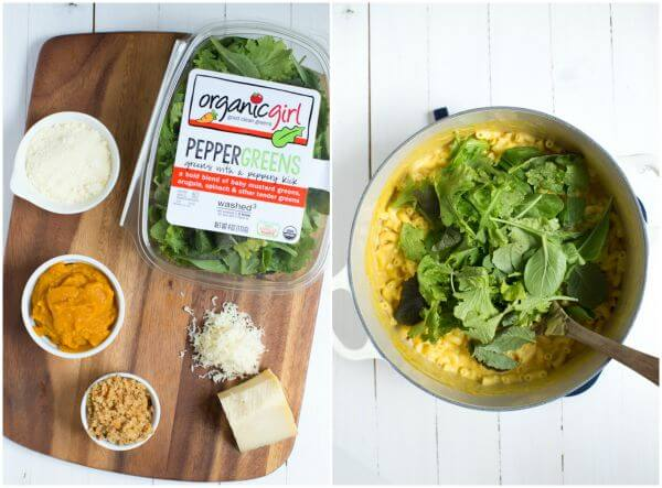 Baked Pumpkin Macaroni and Cheese with Greens is a great way to enjoy your favorite comfort food with mixed greens that is baked until golden and delicious!