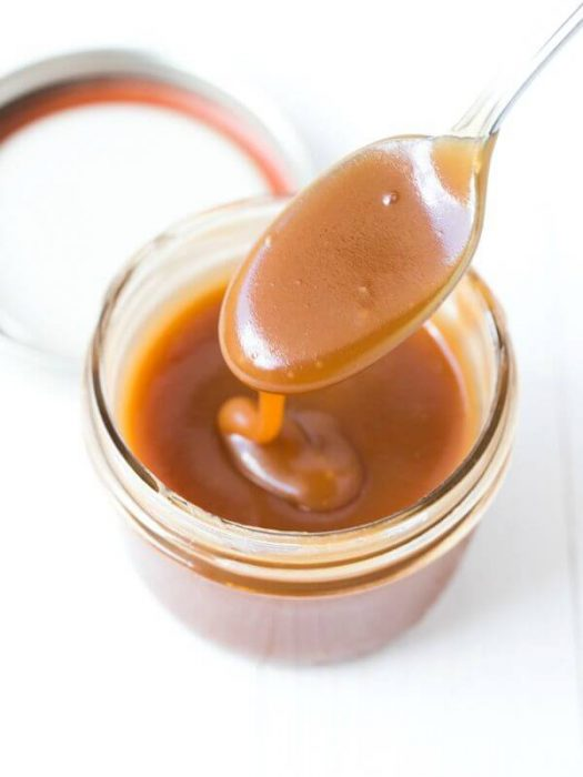 homemade caramel sauce made with three ingredients
