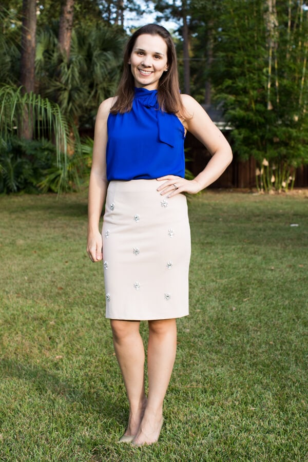 Stitch Fix October 2015 Review featuring Ark n Co Ava Beaded Pencil Skirt!