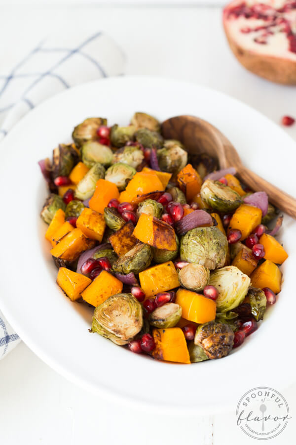 Balsamic Roasted Butternut Squash and Brussels Sprouts with Pomegranate Seeds is an easy flavorful side dish!