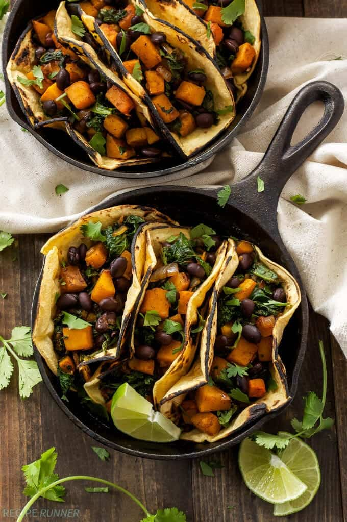 Butternut Squash, Black Bean and Kale Tacos | Vegetarian tacos don't have to be boring, especially when they're full of butternut squash!