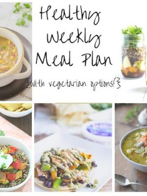Healthy Weekly Meal plan for November including leftover turkey soup, fall mason jar salad, quinoa roasted vegetable bowl and more!