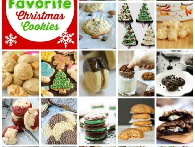 100 Favorite Christmas Cookie Recipes including sugar cookies, chocolate cookies, snickerdoodles and more!