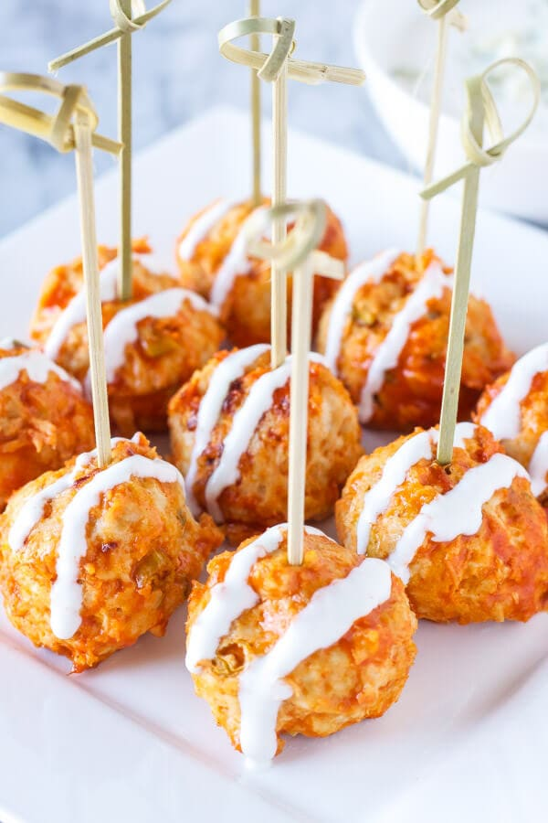 Buffalo Chicken Blue Cheese Stuffed Meatballs