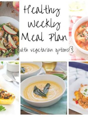 Healthy weekly meal plan for your week ahead including Turkey Chili, Tomato Basil Chicken and Vegetable Quinoa Casserole, Easy Tomato Basil Pasta and more!