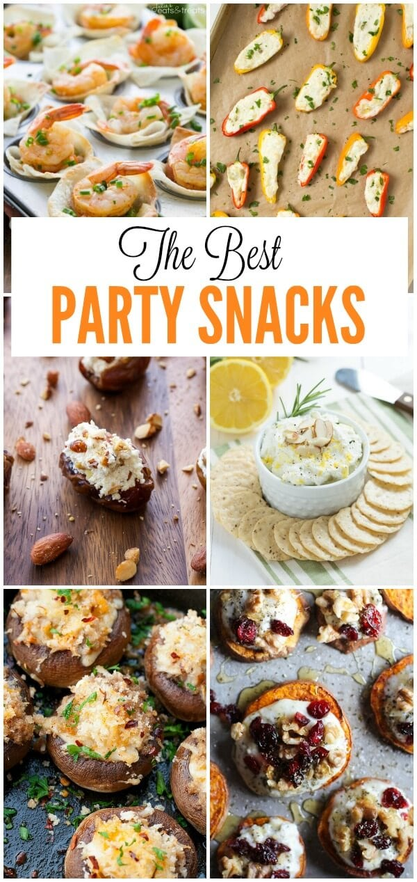 Over 20 of the best party snacks including stuffed mushrooms, nachos, and more!