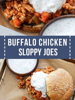 Homemade buffalo chicken sloppy joe sandwiches