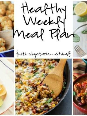 Healthy Weekly Meal Plan featuring Tator Tot Hot Dish, 3 Bean Turkey Chili, Taco Quinoa Skillet and more!