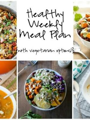 Healthy Weekly Meal plan featuring Macaroni and Cheese, Mexican Rice Casserole, Sweet Potato and Black Bean Quinoa Bowls and more!