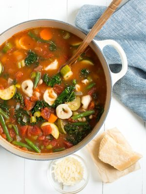 One Pot Tortellini Soup includes all of your favorite vegetables, tortellini and beans!