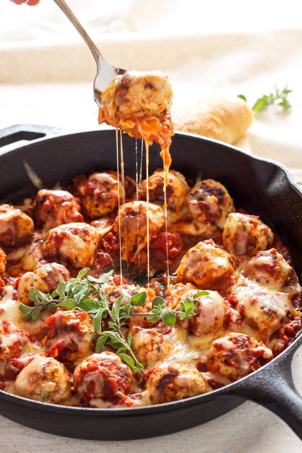 Skillet Meatballs in Marinara   Meatballs stuffed with mozzarella and simmered in marinara sauce. An easy one pan meal!