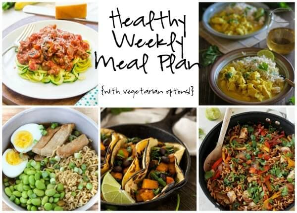 Prep for your week ahead with the Healthy Weekly Meal Plan featuring Chicken Fajita Pasta, Noodles with Bolognese, Butternut Squash Tacos and more!