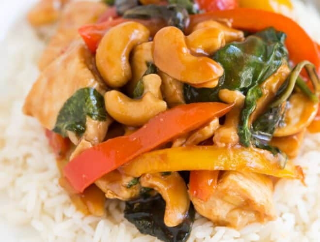 Cashew Chicken with Peppers and Greens is an easy one pot meal that is perfect for the weeknight!