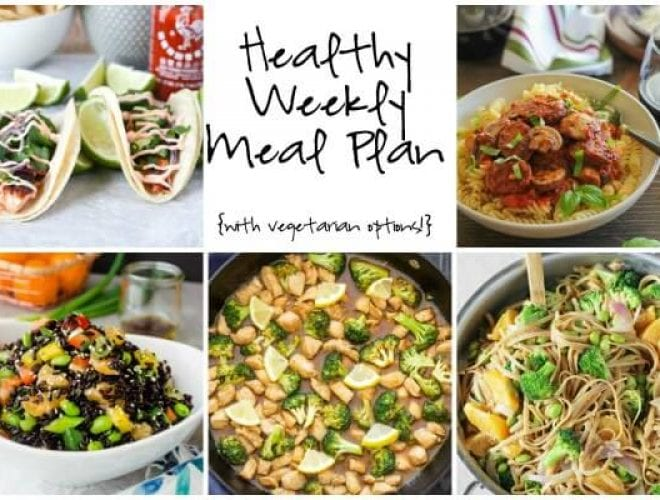 Healthy Weekly Meal Plan featuring Lemon Honey Chicken and Broccoli Stir Fry, Orange Noodle Bowls, Salmon Tacos and more!