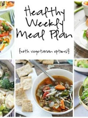 Plan your menu for the week ahead with this Healthy Weekly Meal Plan featuring Thai Chicken Noodles, Black Bean Burgers, Tortellini Primavera and more!