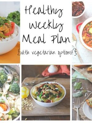 Healthy Weekly Meal Plan featuring Coconut Chicken Curry, Sweet Potato Skins, Greek Spaghetti Squash and more!