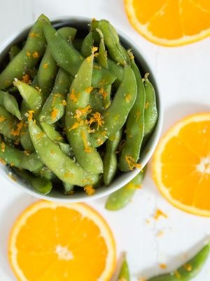 Orange Peel Edamame is a fun snack, appetizer or side dish made with only three ingredients!