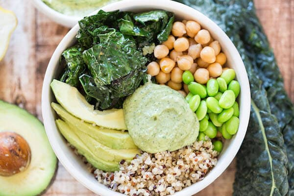 Healthy Weekly Meal Plan featuring Strawberry Salad, Open Faced Sandwich, Green Goddess Bowls and more!