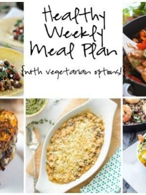 Healthy Weekly Meal Plan featuring Barley and Bean Tacos, Shrimp Quinoa Bowls, Thai Basil Stir Fry and more!