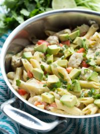 One Pot Creamy Salsa Verde and Lime Chicken Pasta is made with pasta, chicken, lime, tomatillo pasta and cheesy goodness! Everything cooks in one pot too.